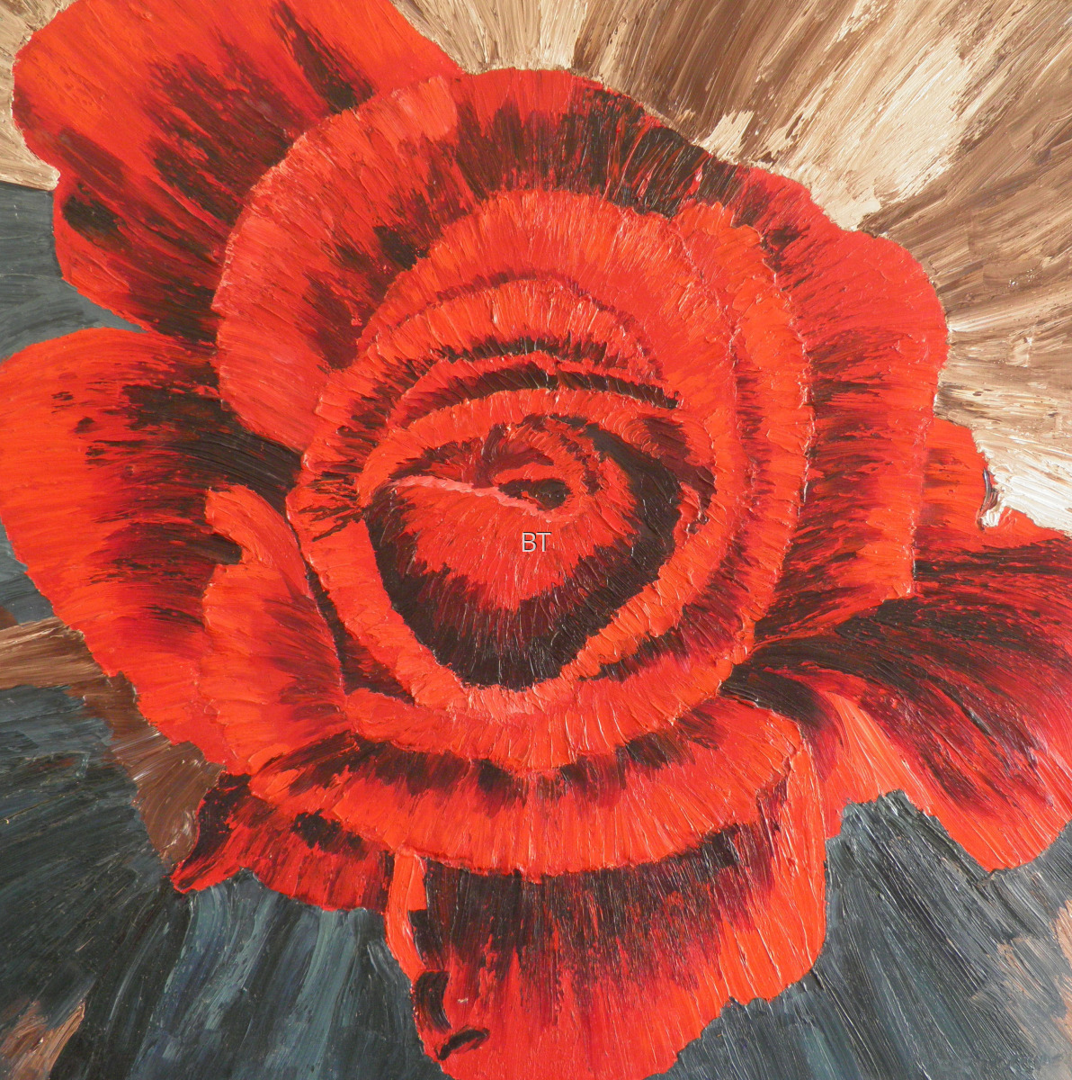 oil on canvas of rose looking down on it in red (large view)