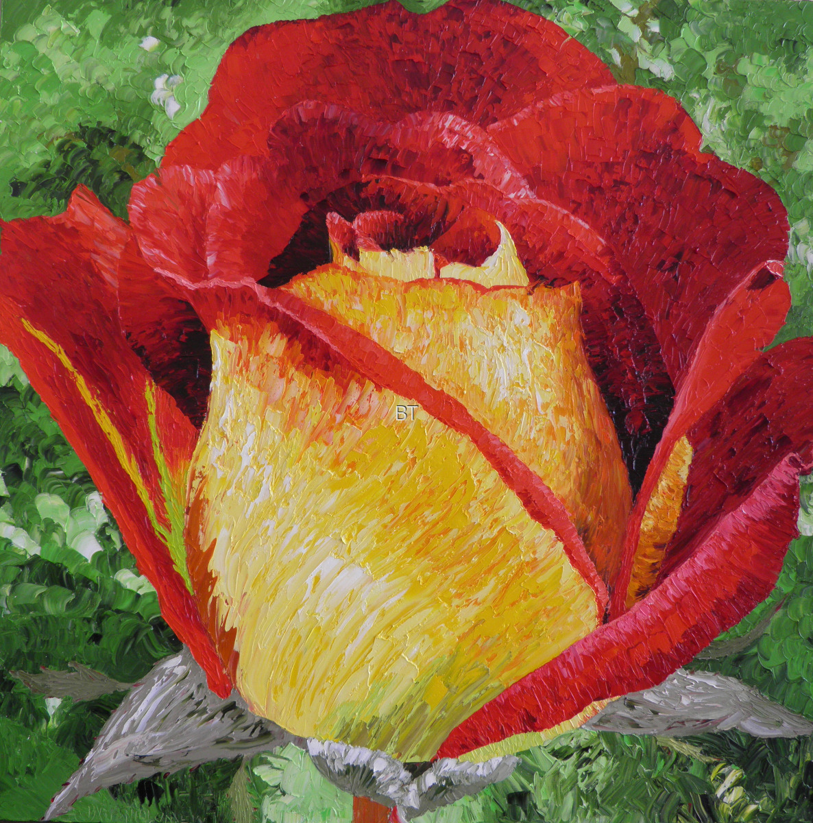 oil on canvas of ketchup and mustard rose in yellow and red (large view)