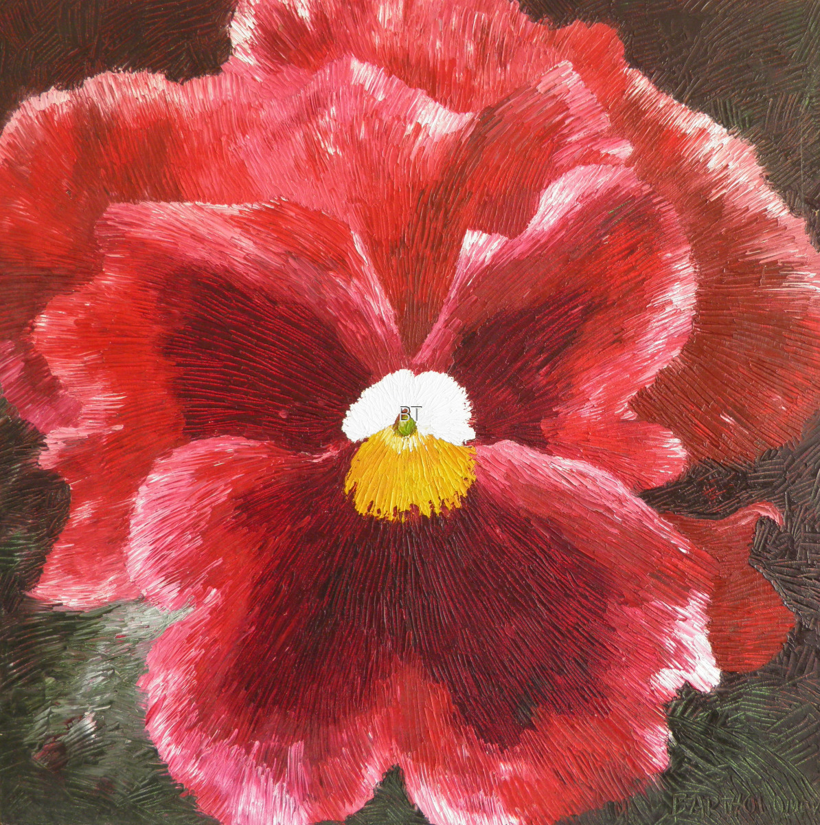 oil on canvas of pink pansy (large view)