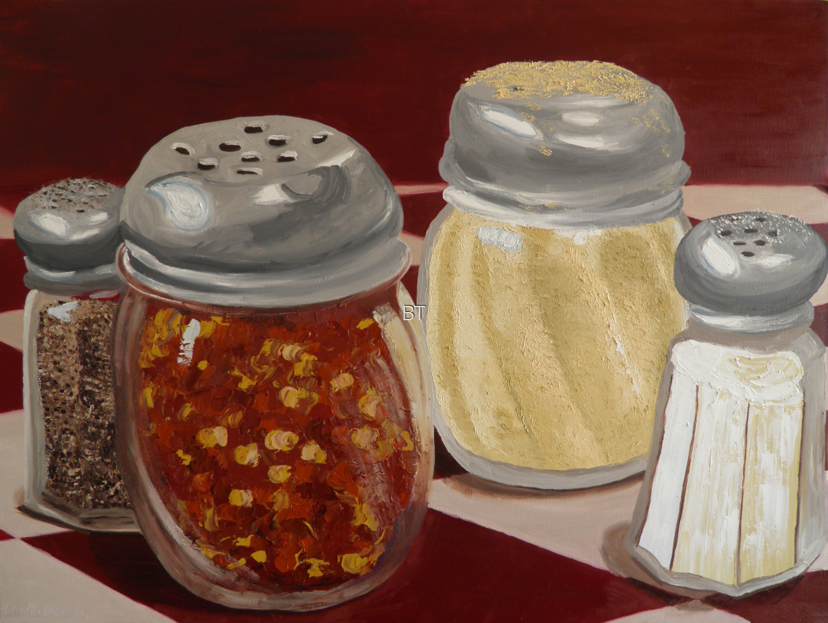 oil on canvas still life of condiment jars from pizza hut including pepper, salt, parmesan cheese and hot pepper flakes (large view)