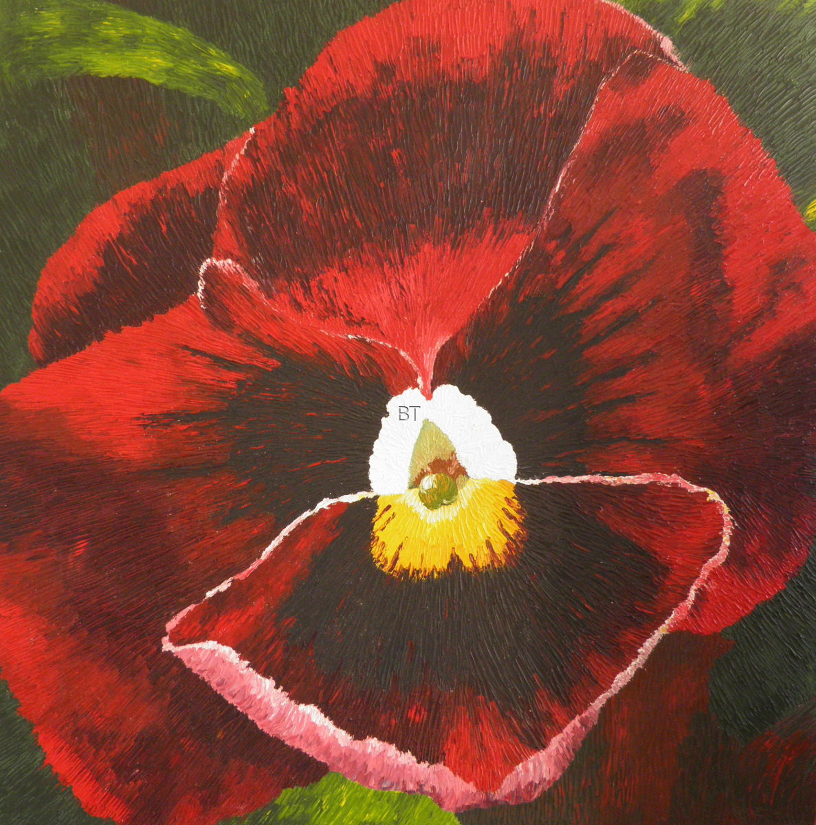 oil on canvas of red pansy (large view)