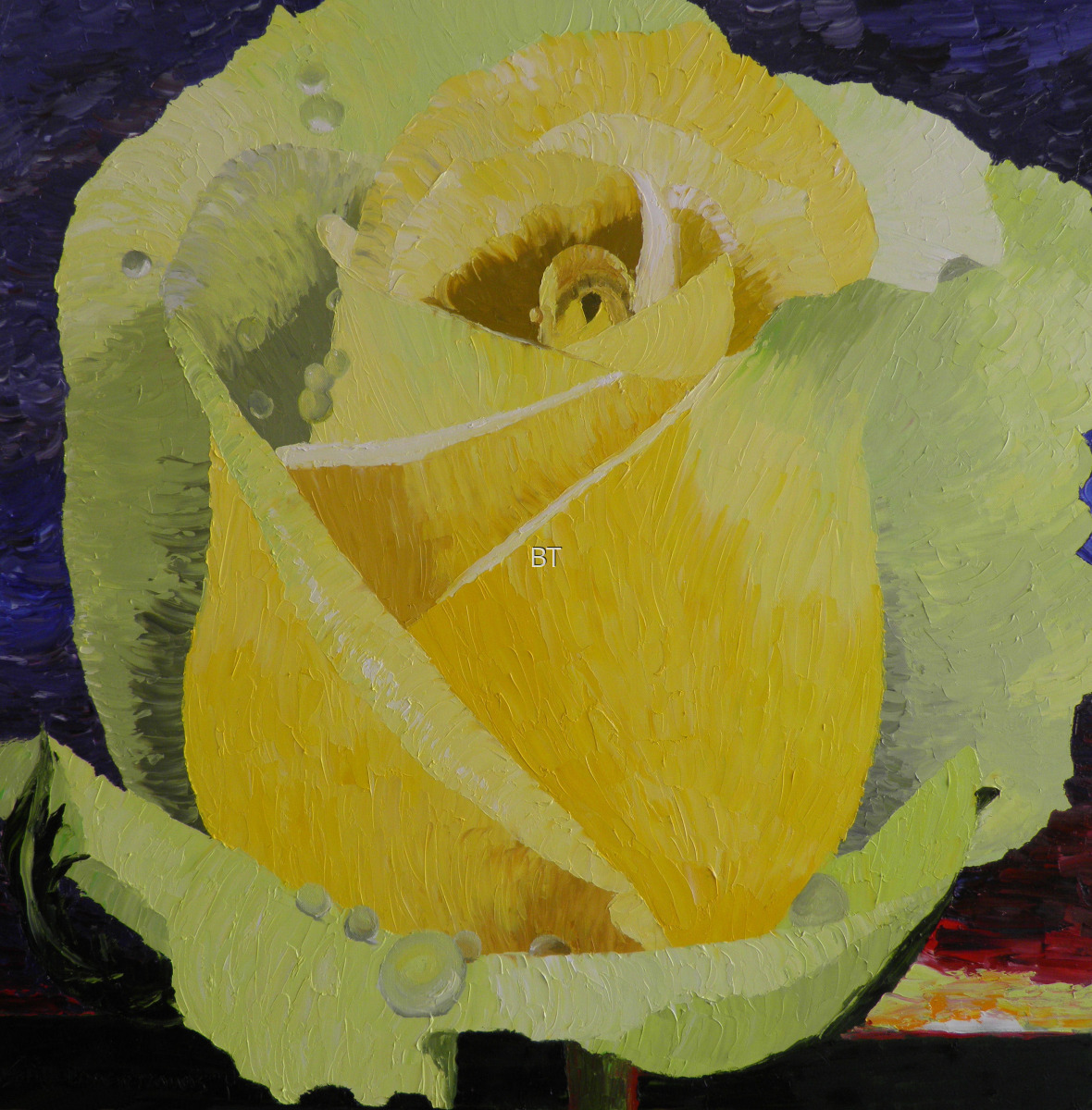 Oil on canvas of yellow rose after a storm (large view)