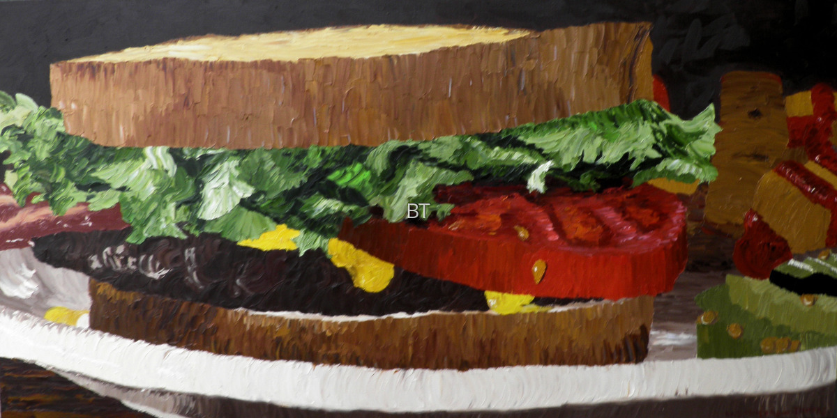 Oil on canvas of still life of sandwich with bacon lettuce and tomato (large view)