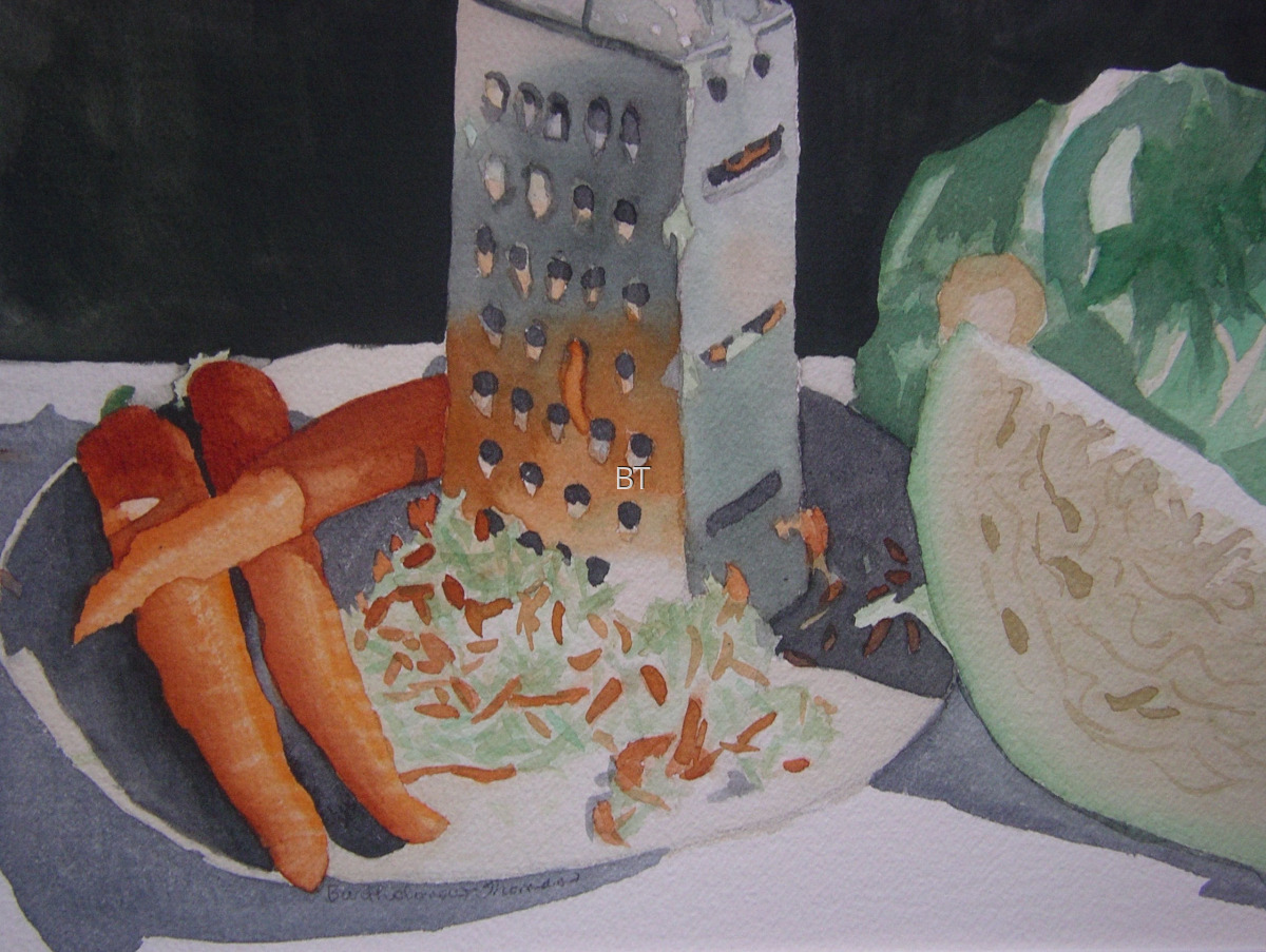 Watercolor on paper of still life of carrots, cabbage and grater making coleslaw (large view)