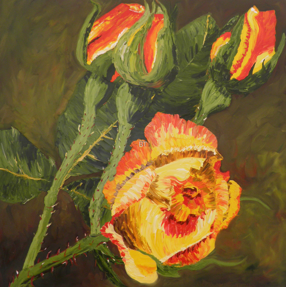 Oil on canvas of rose and stems covered in thorns in red and yellow and green (large view)