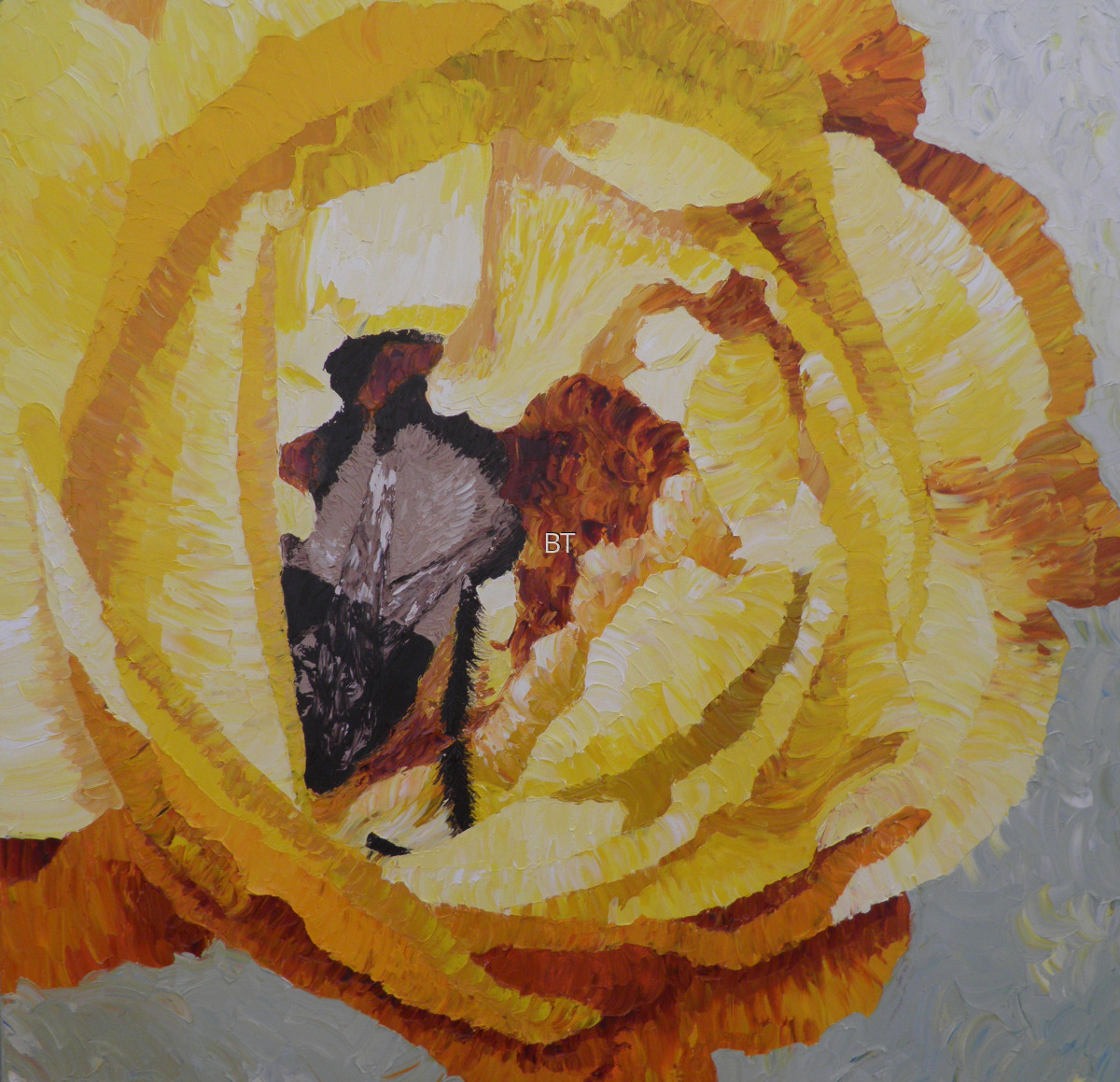 oil on canvas of yellow rose with bee inside (large view)