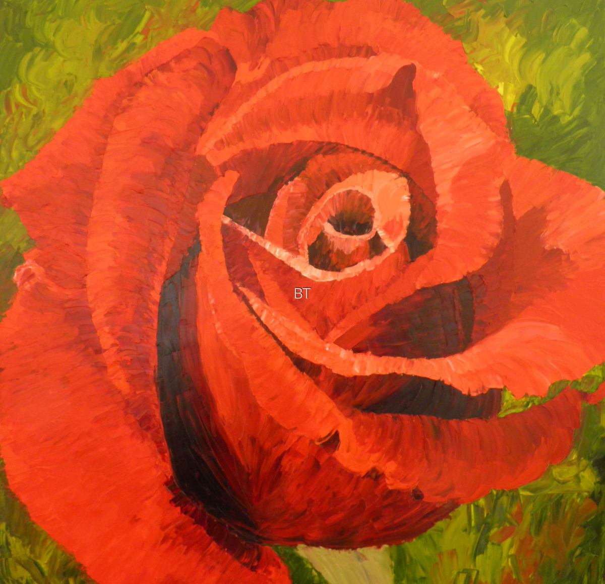Oil on canvas of red rose (large view)