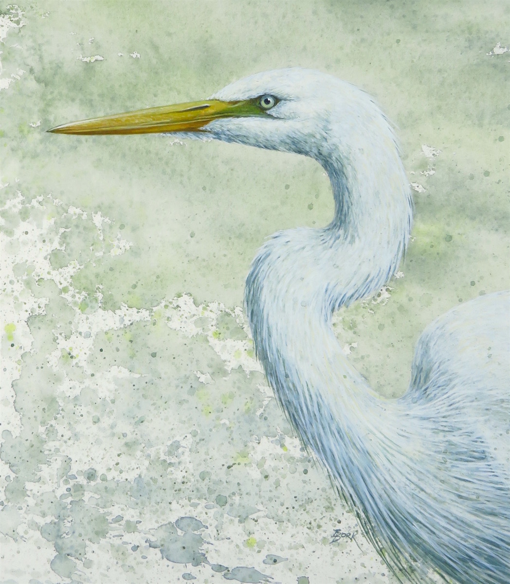 """""""Great Egret"""" (large view)"""