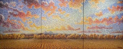 Stubble Corn Field, Triptych
