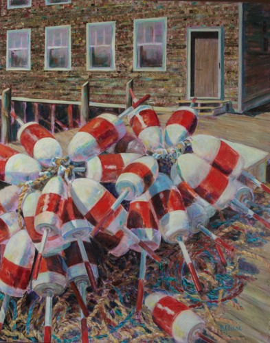 Red and White Buoys by Barbara Chase