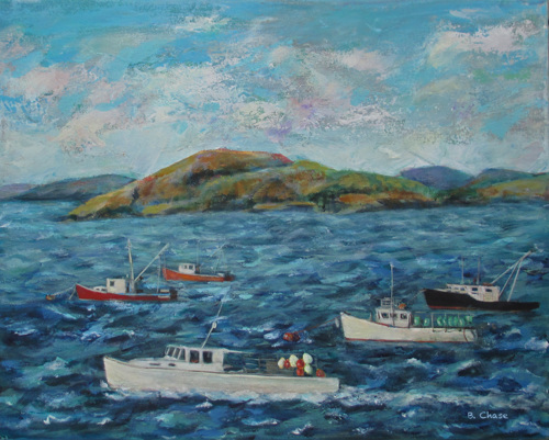 Lubec Lobstah Boats by Barbara Chase