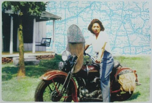 Indian on a '34 Harley Flathead