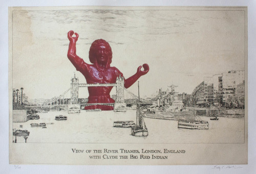 View of the River Thames, London, England with Clyde the Big Red Indian