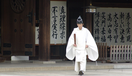 Shinto Priest at Meiji Shrine (large view)