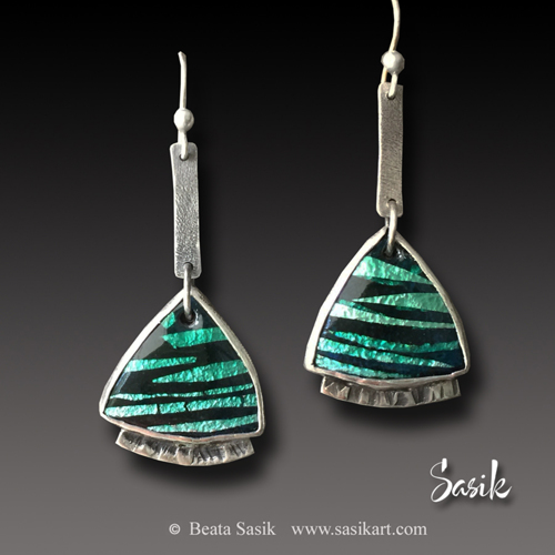TEAL FOIL ENAMEL EARRINGS