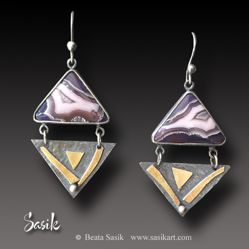 PURPLE PASSION TRIANGLE EARRINGS