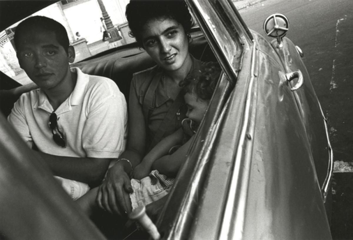 Man, Woman, Child in Car, Havana, Cuba  (large view)