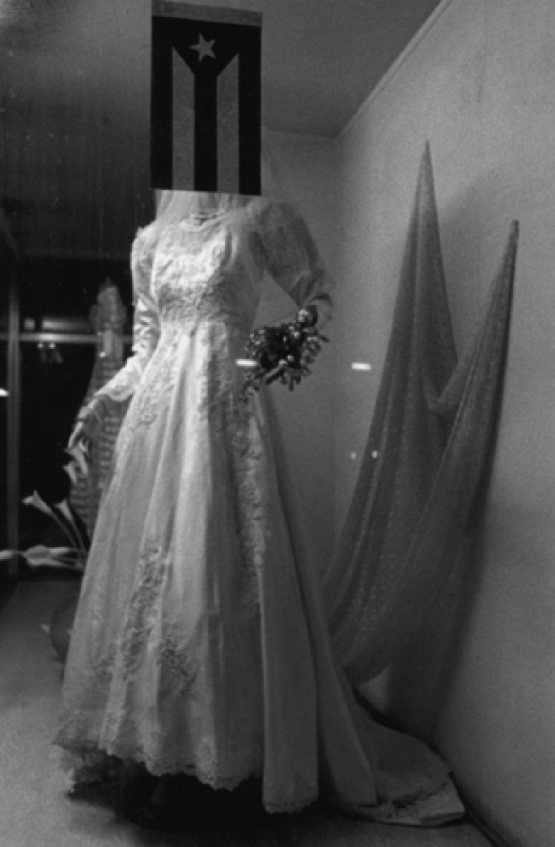 Wedding Dress and Cuban Flag, Store Window At Night, Cuba (large view)