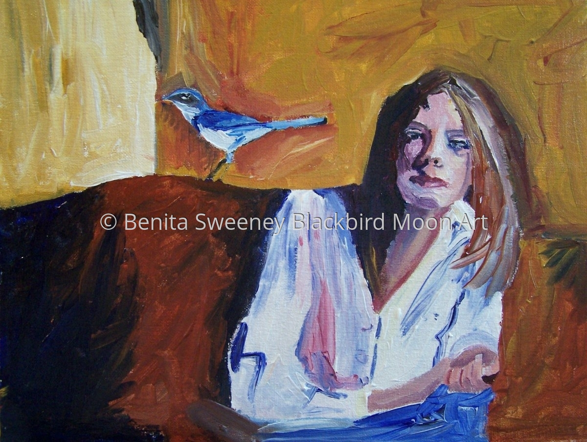 Woman and Bird 1: Contemplation (large view)