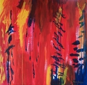 Benita Sweeney, abstract, landscape, painting, art, acrylic, red, blue, bright, fire, burn, environment, environmental, green - Abstract Painting