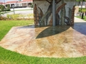Close-up of Botanical Garden leaf rock mural (thumbnail)