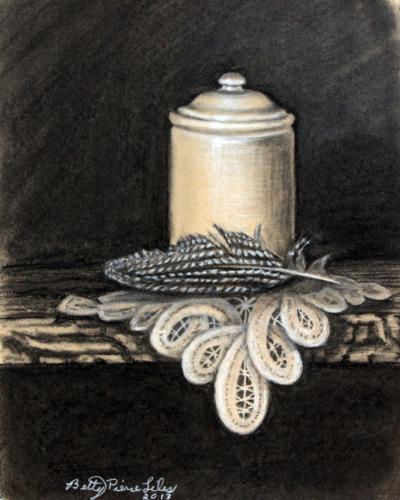 Jar, Guinea Feather, and Battenburg Lace