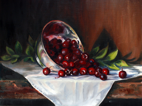 Silver Bowl with Cherries