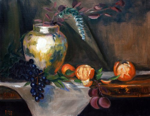 Jar with Grapes and Oranges