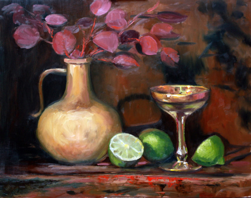 Clay Jug, Gold Rimmed Glass, and Limes