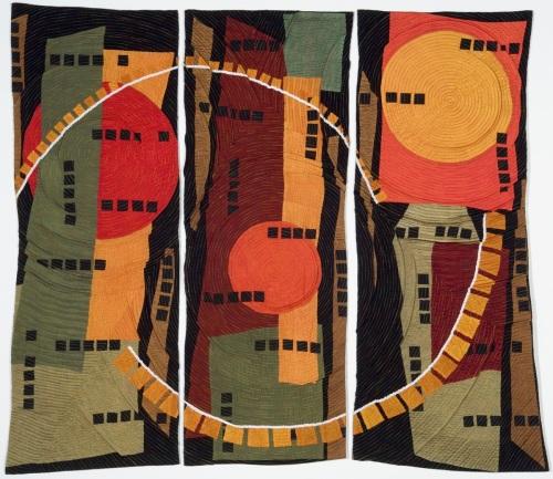 Blazing Suns Triptych by Beatrice Gilbert