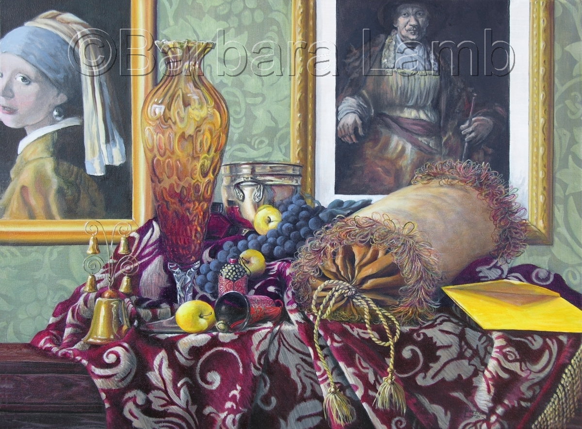 A table top with draped velvet cloth, glass vase, grapes, yellow apples, yellow envelope with two masters paintings on the wall in the background (large view)