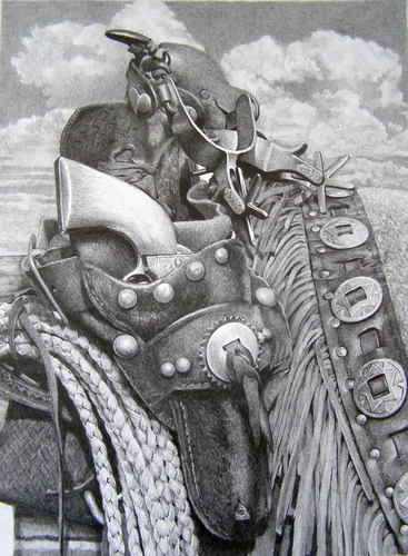 drawing    u0026quot cowboy gear u0026quot   original art by joe belt