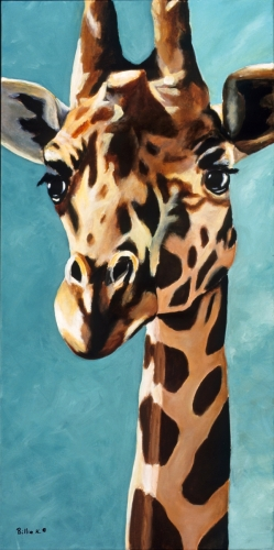 Original Fine Art Giraffe Painting - Gentle Giant