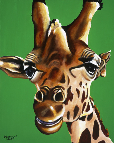 Original Pop Art Painting of a Giraffe - Adolesence
