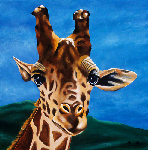 Original Fine Art Giraffe Painting - What's Up