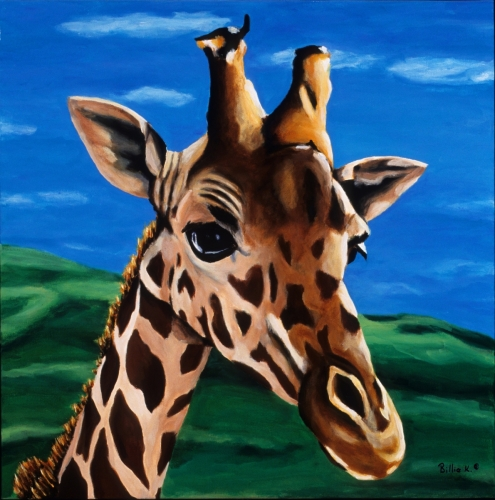 Giraffe Painting, Safari Artwork Titled: Where Are You Going?