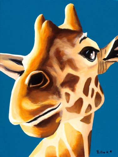 Giraffe Painting, Animal Artwork, Titled: What R U Up To?