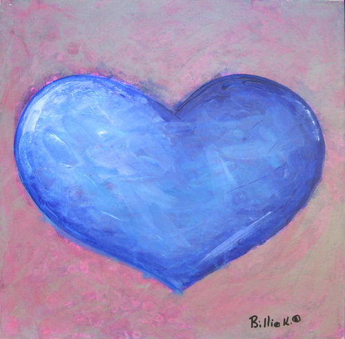 Blue Heart Silver Background