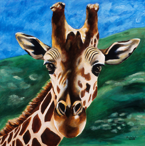 Giraffe Painting in Brown, Blue and Green - Kids Room Art Picture Print Titled: Hello 8x8
