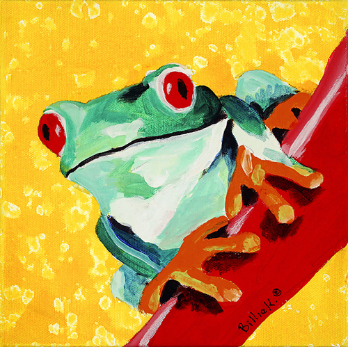 Tree Frog on Yellow Background. Baby Shower Gift, Gender Neutral Nursery 8 x 8 print