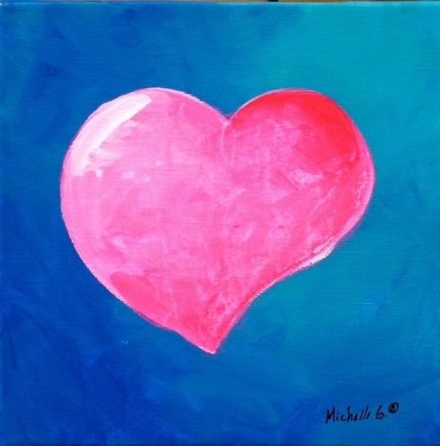 Original Wall Art - Pink Heart 9-44