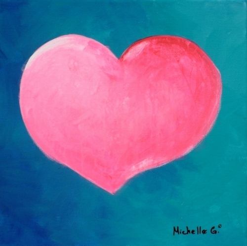 Original Canvas Wall Art - Pink Heart 9-52