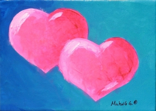 Original Fine Art - Pink Hearts 9-16