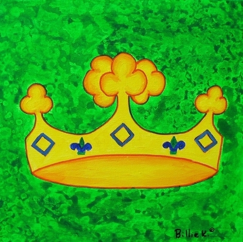 Yellow Clover Crown with Green Background Painting