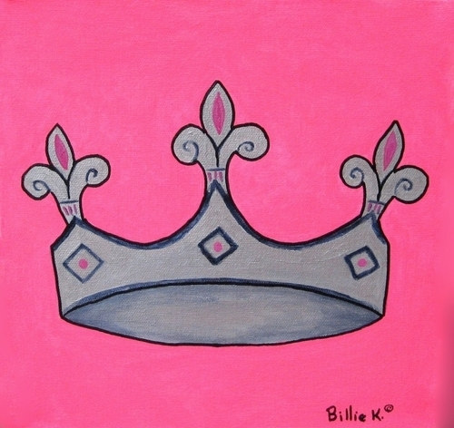Silver and Pink Princess Crown Painting