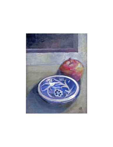 Blue bowl with Red Apple