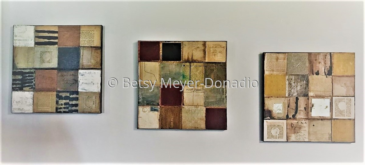 3 Grid Paintings Hung Together (large view)