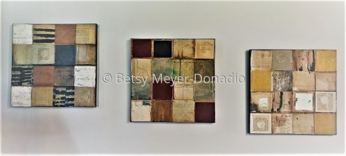 3 Grid Paintings Hung Together