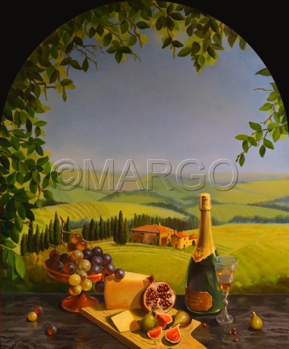 Tuscan Landscape with still-life