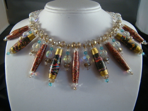 Vintage Japanese Paper Bead Necklace